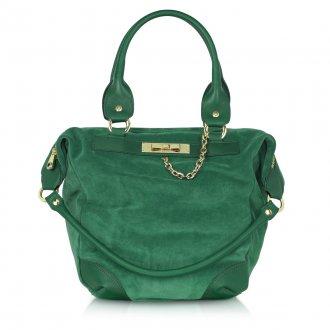 Зеленая замшевая сумка
