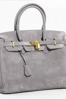 Модная серая замшевая сумка