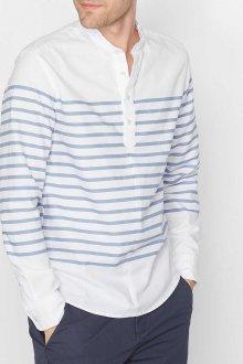 db33eb8e7ed Мужская свободная сине-белая рубашка в полоску с серыми брюками