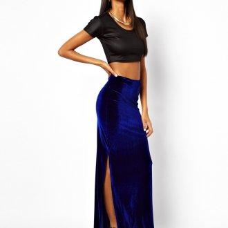 Синяя бархатная юбка в пол