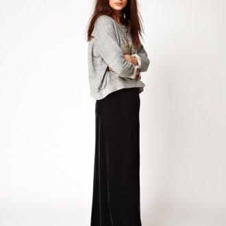 Черная бархатная юбка макси