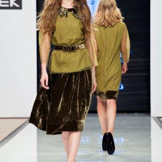 Горчичная бархатная юбка миди