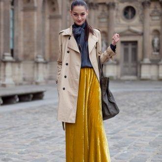 Желтая бархатная юбка с темным верхом