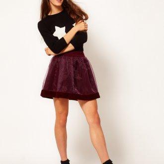 Бордовая бархатная юбка мини