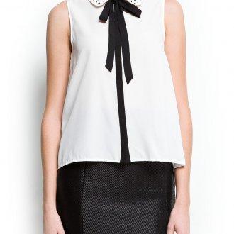 Украшение воротника белой блузки