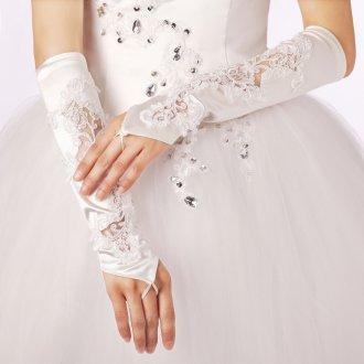 Длинные атласные свадебные перчатки с декором без пальцев