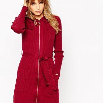 Красное зимнее платье-рубашка