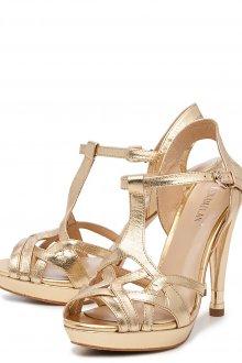 Золотистые босоножки на каблуке