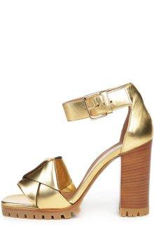 Золотистые босоножки на толстом каблуке