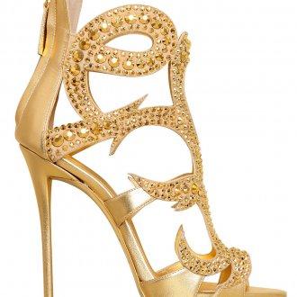 Золотистые босоножки на шпильке со стразами
