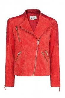 Красная модная замшевая куртка