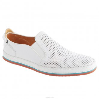 Мужские легкие белые туфли с перфорацией