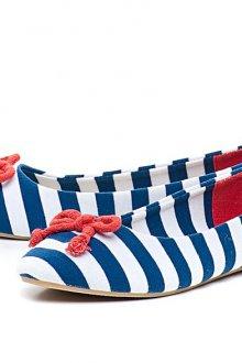 Сине-бело-красные балетки
