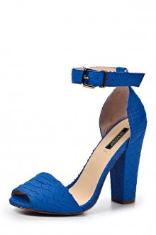 Синие босоножки на толстом каблуке