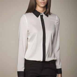 Черно-белая блузка с рукавом