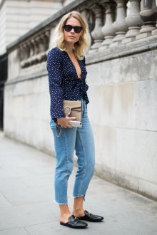 Блузка с принтом и длинным рукавом