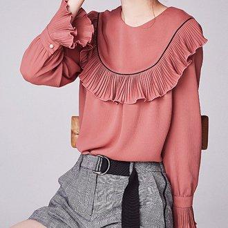 Блузка розовая с длинным рукавом