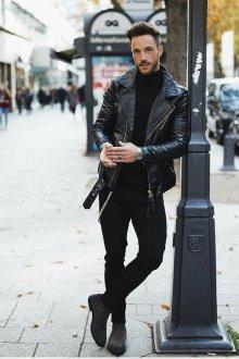 Кожаная куртка с воротником мужская
