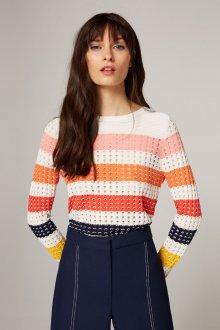 Полосатый ажурный пуловер