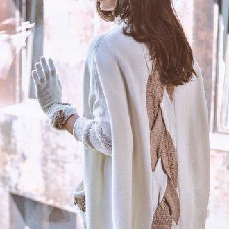 Белый кардиган с косой на спине