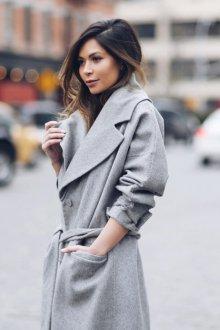 Серое пальто на осень