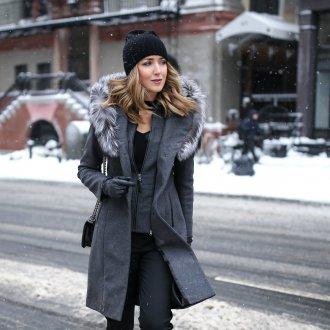 Серое пальто зимнее