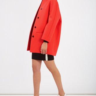 Пальто кокон красное