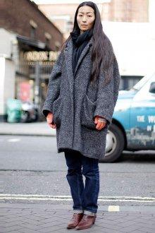 Пальто кокон серое