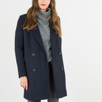 Черное двубортное пальто