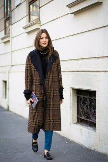 Двубортное пальто с принтом