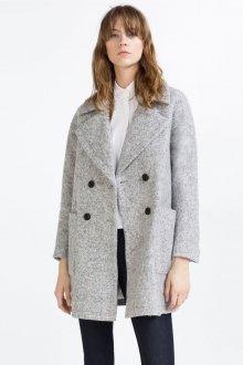 Двубортное пальто серое