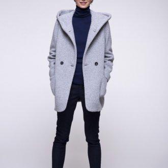 Двубортное пальто с капюшоном