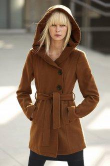 Коричневое пальто с капюшоном