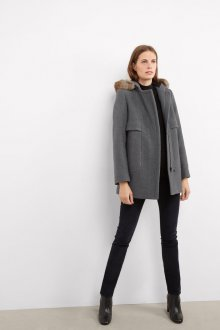 Пальто с капюшоном на молнии