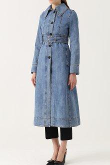 Джинсовое пальто с поясом