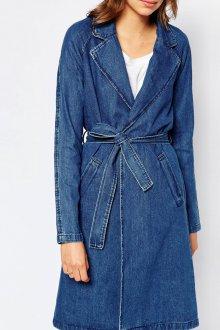 Джинсовое пальто с запахом