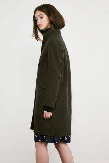 Драповое пальто зеленое