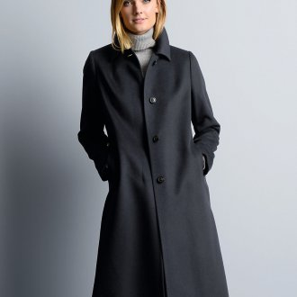 Черное кашемировое пальто
