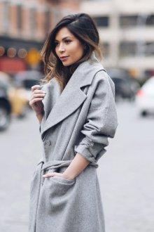 Серое кашемировое пальто