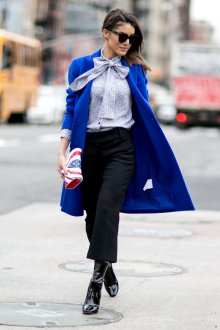 Синее кашемировое пальто