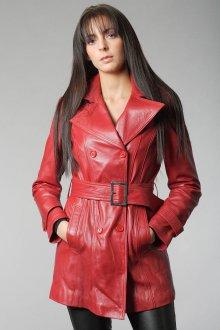 Красное кожаное пальто