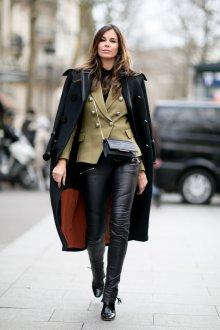Пальто с кожаной отделкой