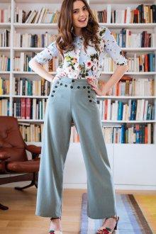Голубые брюки с высокой талией