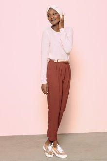 Розовые брюки с высокой талией