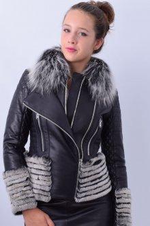 Кожаная куртка с меховым декором