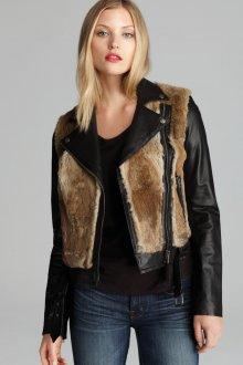 Кожаная куртка косуха с мехом