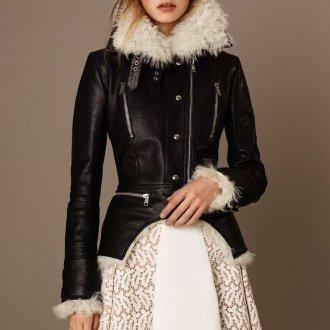 Кожаная куртка приталенная с мехом