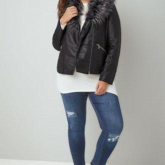 Кожаная куртка с мехом большого размера