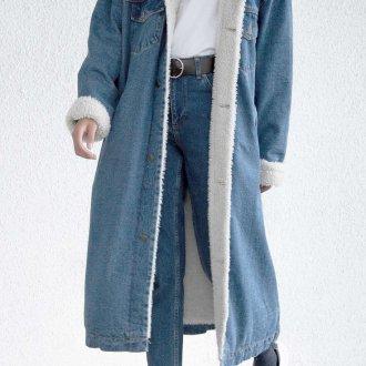 Джинсовая длинная куртка
