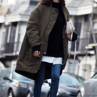 Коричневая длинная куртка